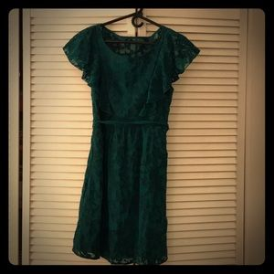 Green holiday dress from Anthropology